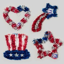PATRIOTIC TINSEL DECOR 12-16IN STAR/HEART/HAT/SHOOTING STAR #G88094N