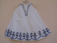 Kids wear hand embroidery printed latest design neck pattern girls party wear cotton dress