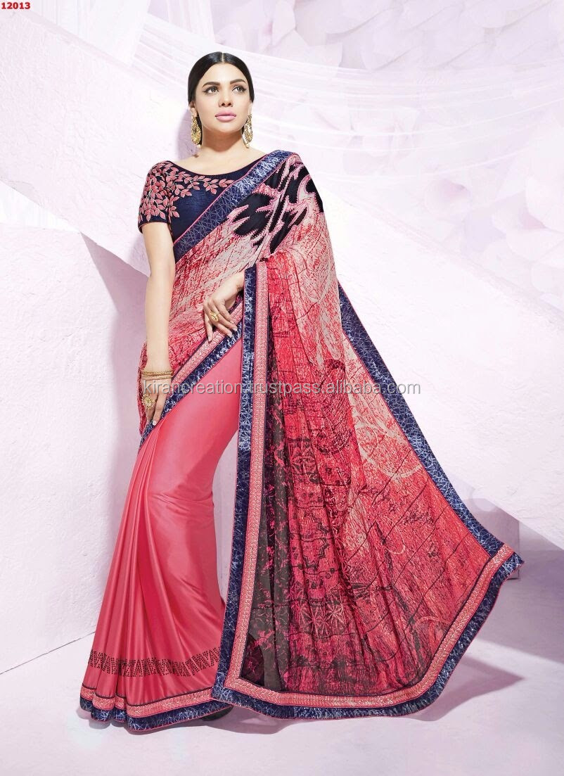 Orange and Brown designer saree for women for special occasion