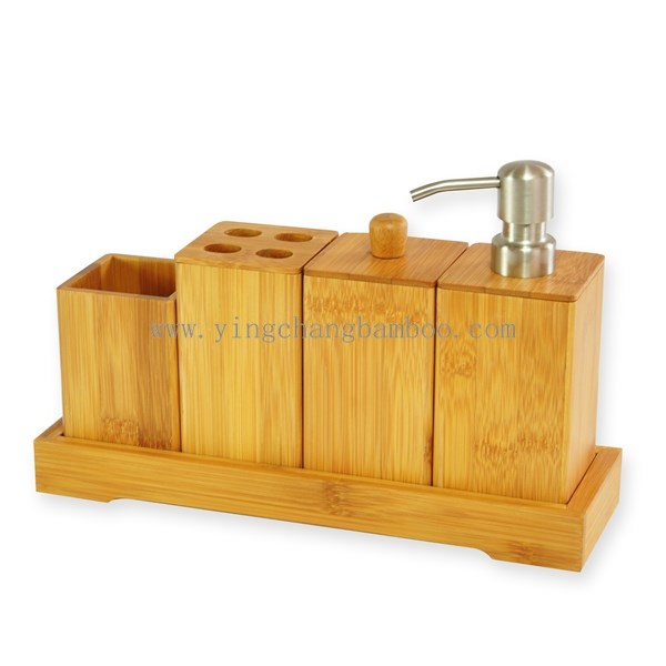 Cheap bamboo wooden bathroom accessories set buy wooden for Affordable bathroom sets