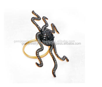 Black And White Pave Diamond Ruby Gemstone Octopus 2017 Designer Diamond Ring