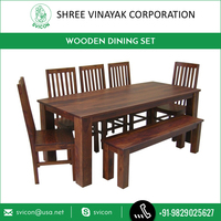 New Arrival in Market Antique Wood Dining Table Set with Bench Seater
