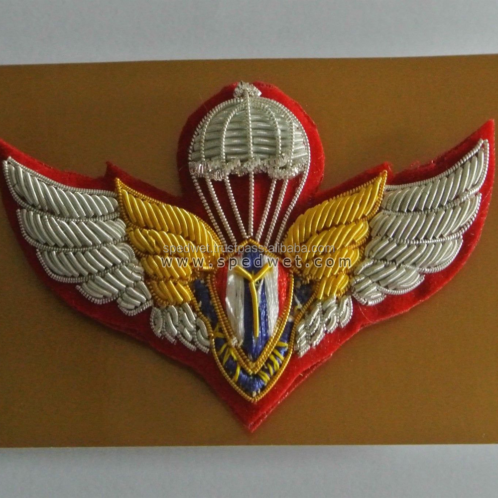 Thailand army parachute sail bullion wings badge | Silver wire air force pocket wings
