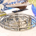 Set of 3 Pieces Stainless Steel Round Contemporary Trays