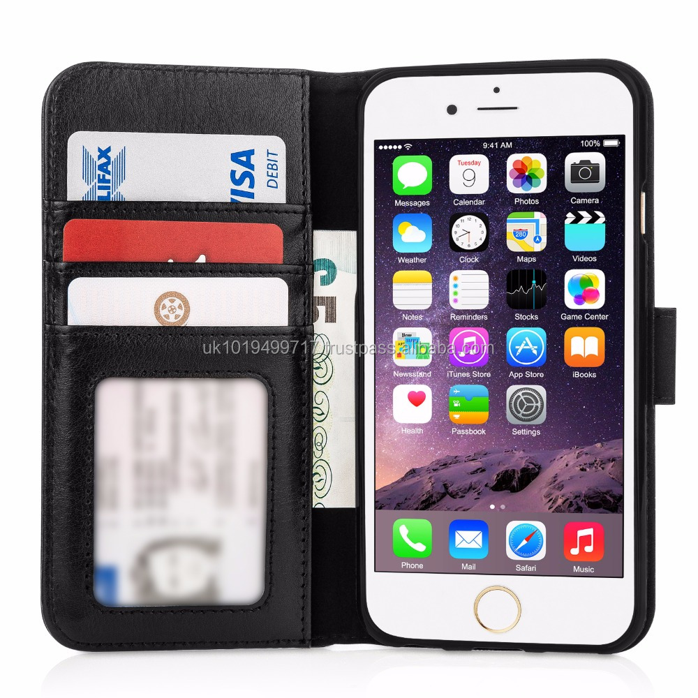 Real Leather ID Wallet Case Cover for iPhone 6 and 6s - Black