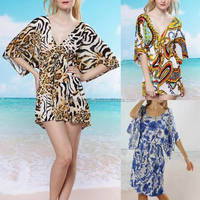 Sexy Women Animal Print Tunic Kaftan Top/Beach Bikini Cover Up Dress