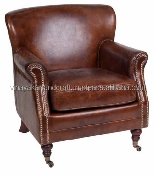 Retro Vintage & French style Single Seater Leather Sofa chair