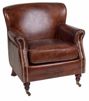 Retro Vintage & French style Single Seater Leather Sofa