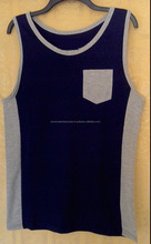 Gents two tone tank top with front pocket/Cotton gents two tone tank top with side panel