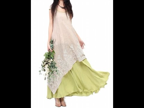 Allbebe Allbebe Cotton Embroidery Fake Two piece Linen Folk Style Long Dress