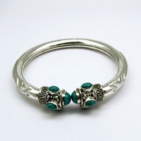 Turquoise 925 Sterling Silver Charm Bracelet, 925 Silver Jewelry, Beautiful Handmade Silver Jewelry