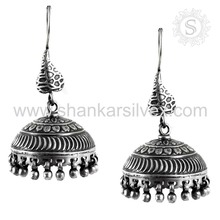 Customized design jhumka earring handmade 925 sterling silver jewelry indian silver jewelry wholesaler