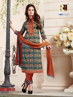 MOONLIGHT COTTON SATIN PRINT SEMI-STITCHED LONG SALWAR KAMEEZ