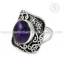 Perfection Of Indian Design Amethyst Natural Gemstone Silver Ring Handmade 925 Sterling Silver Jaipur