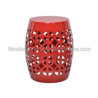 Artisan Red Garden Stool/ Side Table Aluminum Stool Metal Stool ...