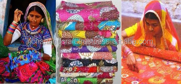 Hand Embroidery Indian Kantha Quilts Wholesale Prices