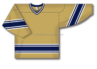 Custom Design Cut & Sewn Vegas Gold with Navy/White Panels Ice Hockey Jersey/Shirt