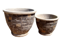 Natural stacked stone slate planter - Pebble water fountain - Mosaic table top patio furniture - Sandstone natural garden pots