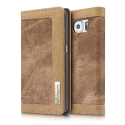 for CASEME Canvas Coated Wallet Leather Flip Case for Samsung Galaxy S6 G920 - Brown