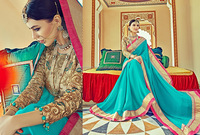 Super Turquoise Chiffon Designer Saree/embroidered saree border/wholesale saree