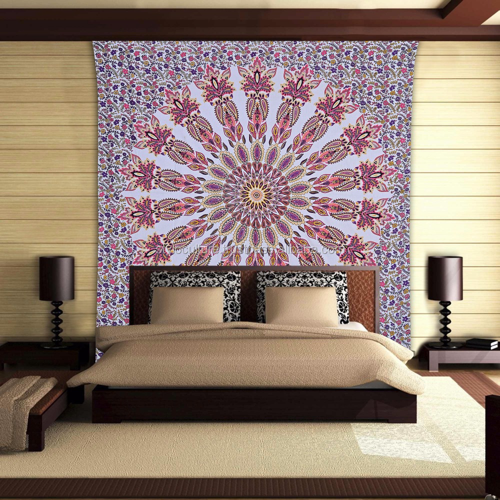 Wholesaler Mandala Wall Hanging Cotton Paisley Queen Indian Curatin Divider Towel Wall Mandala Tapestry