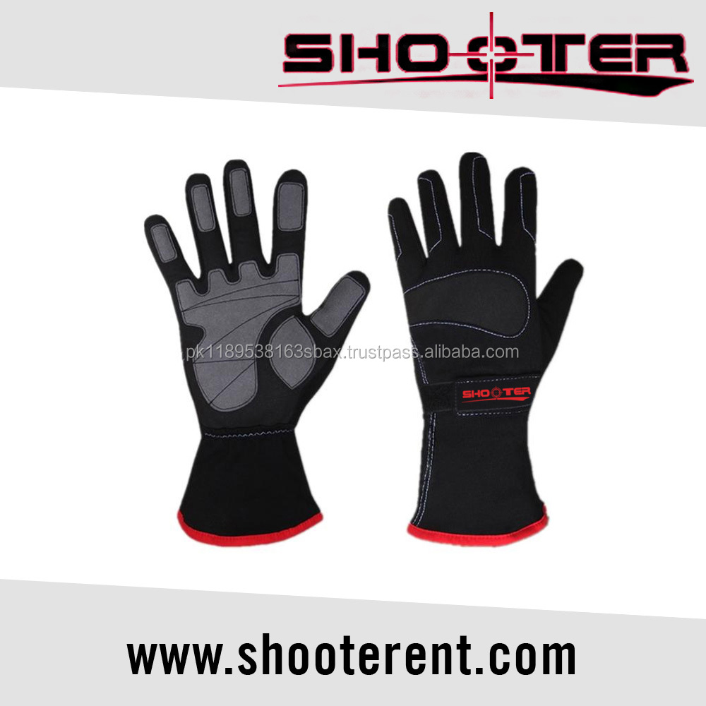 Protective Leather Black Motorbike Racing Car Gloves