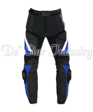 High Quality Latest Top Grain Genuine Cow Black Leather Motorbike Pants