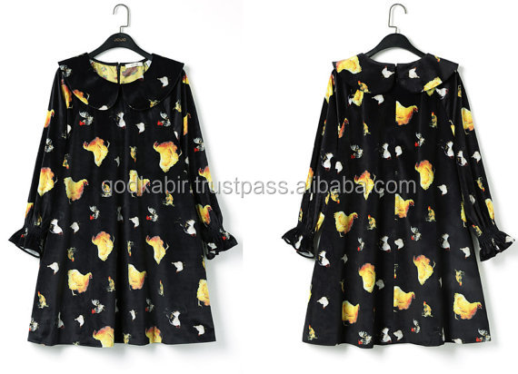 Very wholesale price Beautiful chicken printed dress, black velvet felt dress, vintage style printed dress