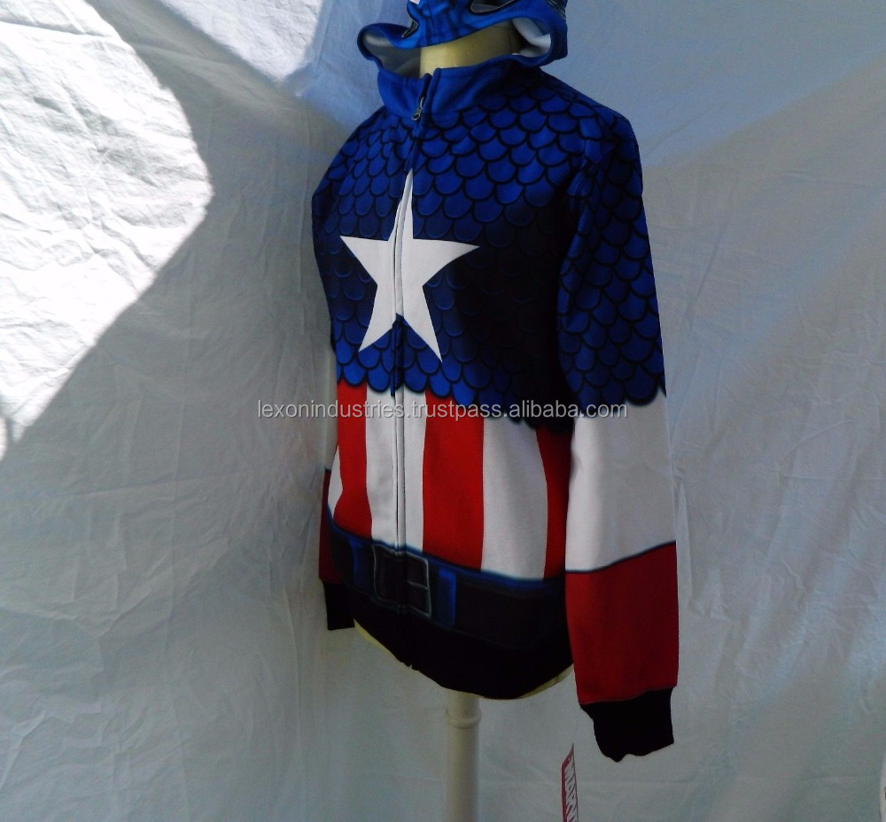 Marvel Captain America Sublimated Hoodie Cosplay Zip Front S Lightweight - Sublimation Hoodie