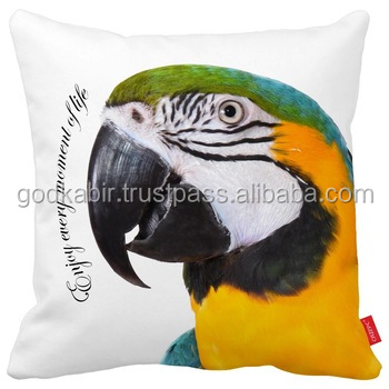 Lovely Motivational Scarlet Macaw Parrot Bird Print Home Decorative Throw Pillow Case Almofadas Decorate best look Cushion Cover