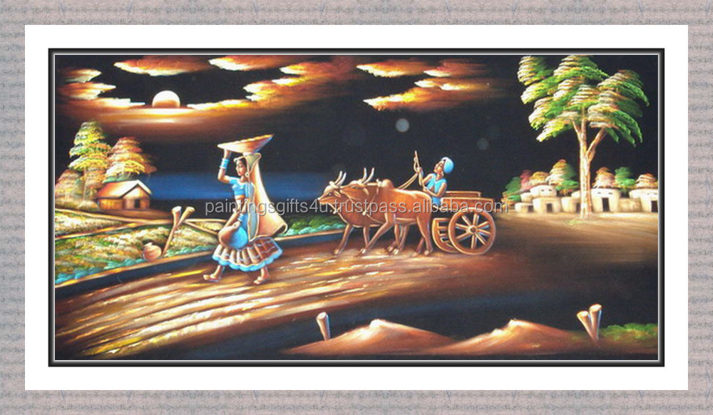 Village scenery painting / Village scenery handmade painting
