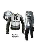 Mens Gray Kawasaki Motorcycle Biker Leather Suit Leather Jacket Trouser Pants