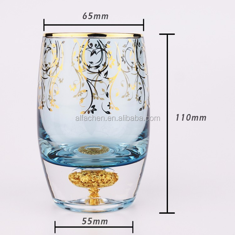 24K Gold Foil Drinking Cup Colored Glassware With Gold Rim Water Glass