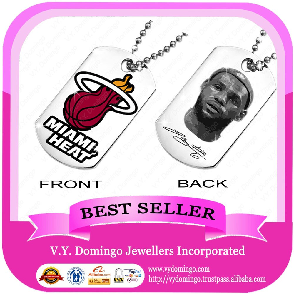 MIAMI HEAT both side pictures dog tags necklace custom design no MOQ