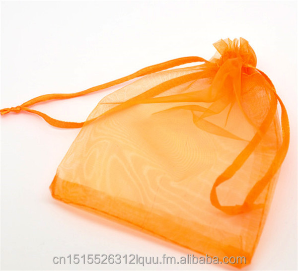 <strong>Orange</strong> Drawable Organza Wedding Gift Bags&Pouches 12x9cm, sold per packet of 100