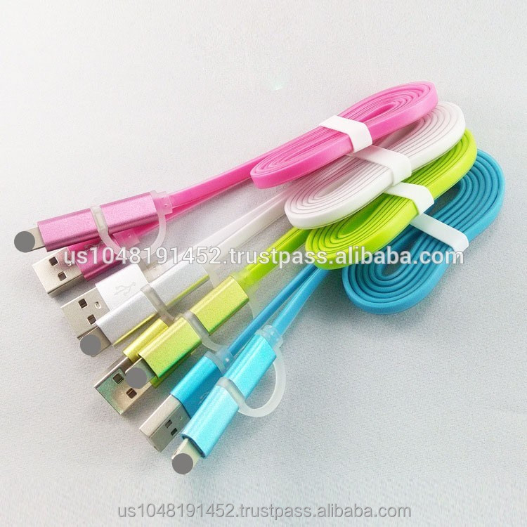 Cheap Colorful 2 in 1 TPE Micro data USB Cable for Android for Smart Phone