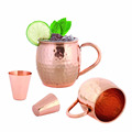 Manufacturer of Copper Herbal Mugs With Copper Handle Hammered Design With 16oz Capacity