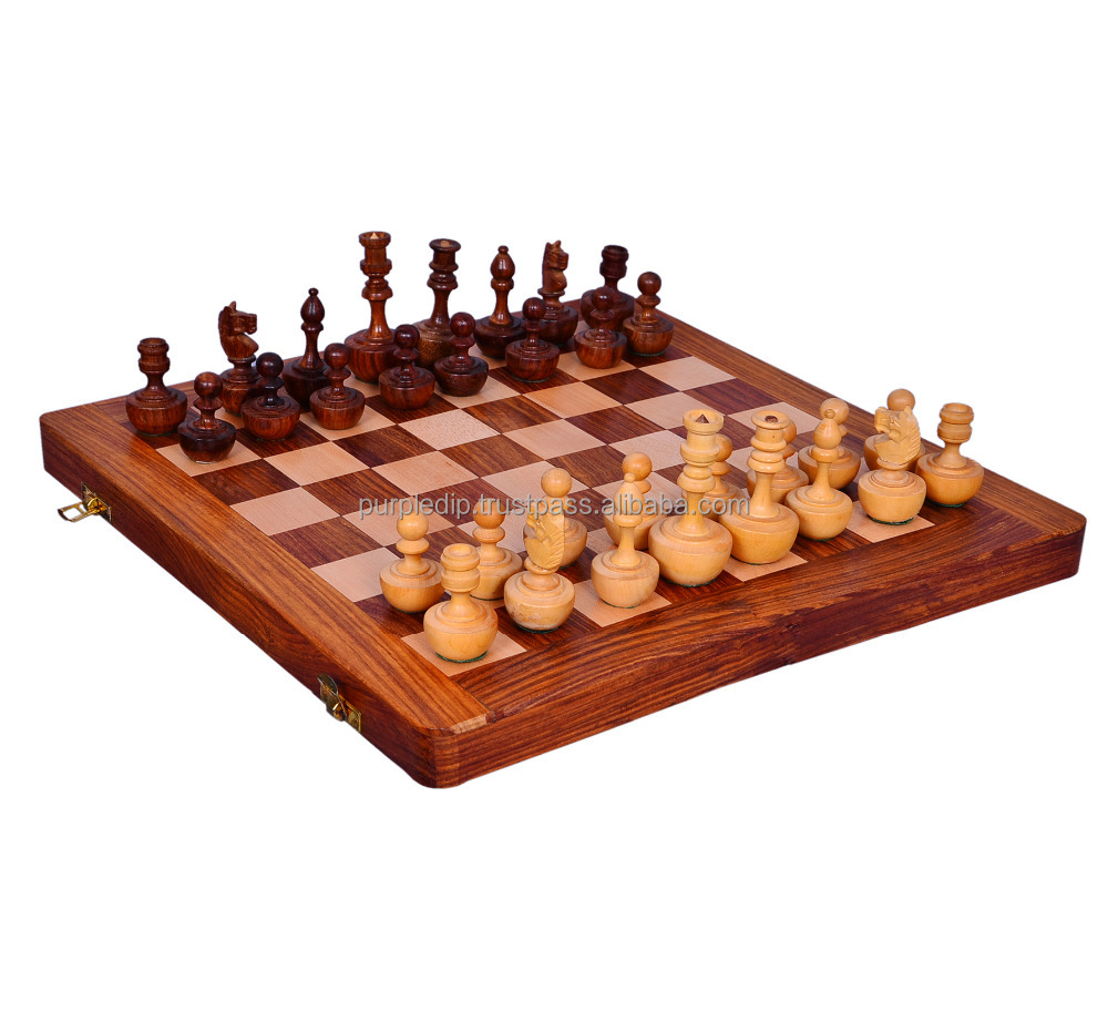 "Chess Set with Unique Auto-Correcting Wooden Design Pieces ""Never Back Down"": Strategy Board Game with Universal Rules; Loved A"
