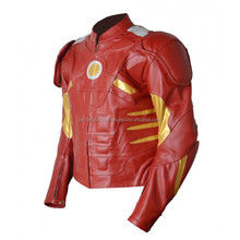 Real Leather Iron Men Motorcycle Racing Jacket/Motorbike Jacket For Men