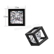 New Cubic Zirconia Stainless Steel Pendant with Cubic Zirconia cube cubic cuboid plated plating faceted 1142936