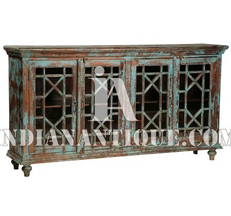 INDIAN FURNITURE INDIAN WOOD FURNITURE DISTRESSED FINISH HAND PAINTED SIDEBOARD IA-DIS-174