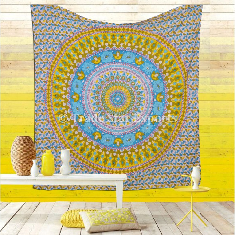 Indian Tapestries Bulk Large Mandala Wall Hanging Wholesale Indian Printed Beach Throw Tapestry Bohemian Cotton Bedding