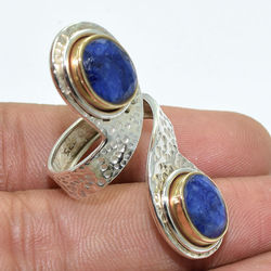 Solid 925 Sterling Silver Blue Sapphire Gold Plated Ring