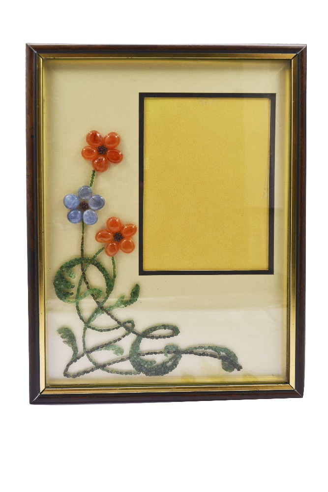 High Quality Flower design handmade gemstone photo frame