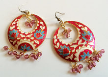 Hot Pink Enamel Earrings,Chand Bali,LOTUS Earrings Dangle Chandelier Pink White Gold Earrings