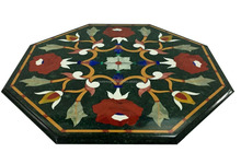 Black Marble Stone Inlaid Center Coffee Table Top Mosaic Inlay Table Top