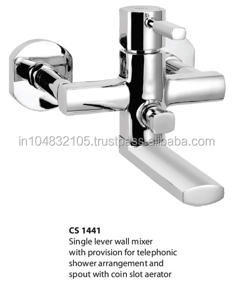 Single lever wall mixer with provision for telephonic shower arrangement and spout with coin slot aerator