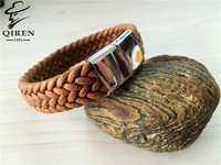 New Charming Silver Stainless Steel Mens Brown Genuine Leather Bracelet