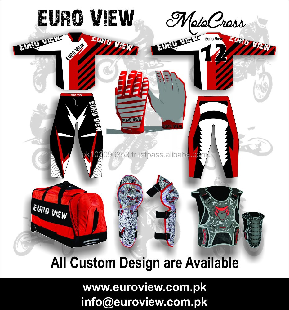 Custom Design Motocross Jersey / Pant High Quality Motocross Pant / Jersey Blue White Wholesaler Complete Motocross Clothing