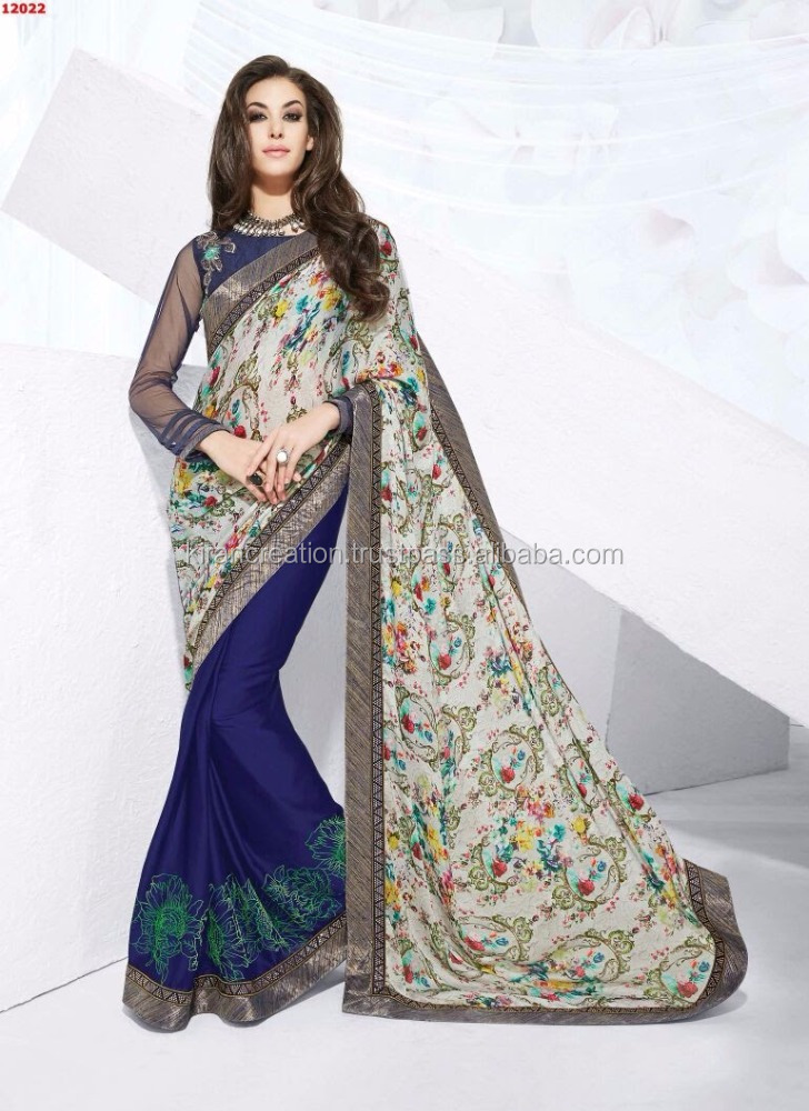 Latest 2016 Nayonika Collections Designer Saree with Stone and Thread Embroidery work